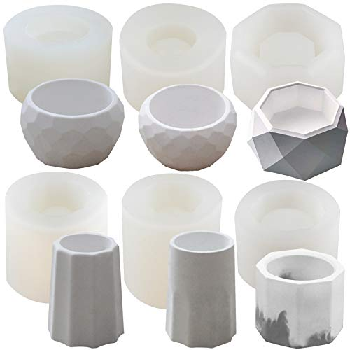 Funshowcase Octagon & Round Flower Pot Silicone Molds 6-Count, for Epoxy Resin Concrete Clay Succulent Planter Bowl Ashtray Candle Soap Pen Holder