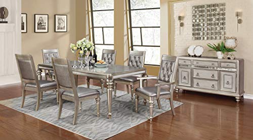 Coaster Home Furnishings Bling Game 5-Piece Dining Set with Rectangular Extension Leaf Table Metallic Platinum