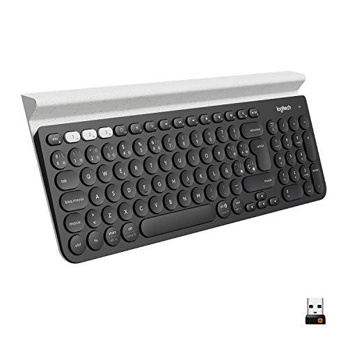 Logitech® K780 Multi-Device Wireless Keyboard - Dark Grey/Speckled White - ESP - 2.4GHZ/BT - N/A - MEDITER