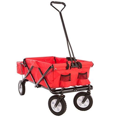 Ultrasport faltbarer Wagen, Bollerwagen, Picknickwagen, Handkarre mit Transporthülle, Rot
