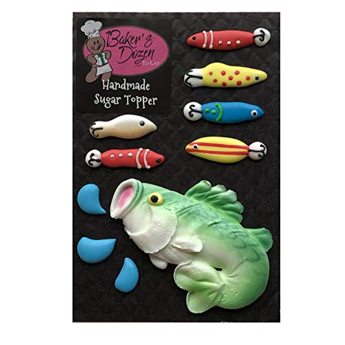 Edible Fish and Fishing Lures Cake Decorations - 10 Piece Set