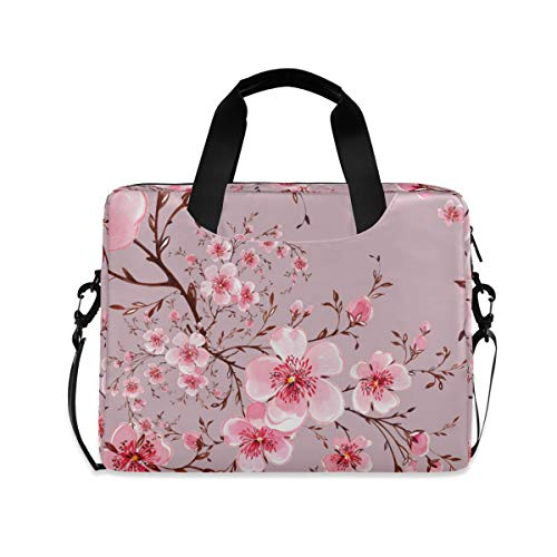 ALAZA Pink Floral Cherry Blossom Laptop Case Bag Sleeve Portable Crossbody Messenger Briefcase w/Strap Handle, 13 14 15.6 inch