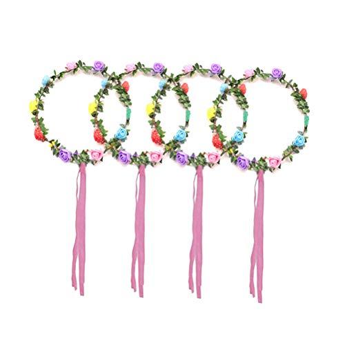 Lurrose 4 stuks kleurrijke bloemen lichten hoofdband LED Glow slinger hoofdtooi voor feest