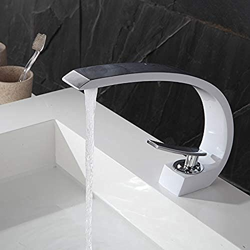 YZDD Grifo de baño Lavabo de arco Grifo hecho a mano Pintura blancacromada Pintura verde cromada Grifo montado en cubierta.Grifo caliente y frío.Mezclador de lavabo