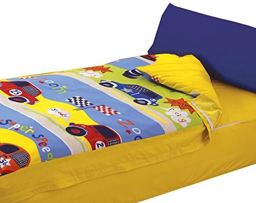 Montse Interiors Parure prêt à Dormir pour Enfant - Design « Speedy » - Housse de Couette 90 x 195 cm/taie d'oreiller 110 x 45 cm/Drap-Housse 90 x 195 cm - Motif Voitures