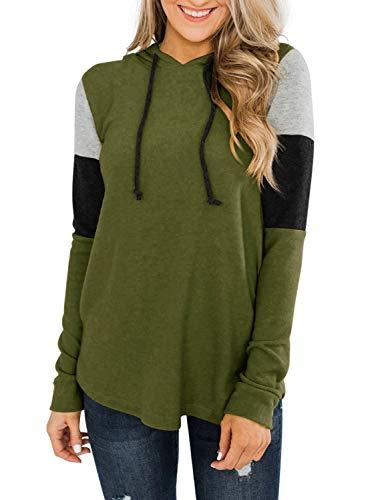 REORIA Sudadera de mujer con capucha con cordón de manga larga con bloques de color, verde militar, M