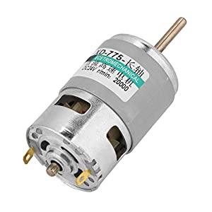 775 Motor,High Speed 80w High Power Torque Extension Shaft DC Motor 12v/ 24v 10000/20000RPM CW/CCW for Office Automation, Home Automation,Consumer Electronics,etc(24V 20000RPM)