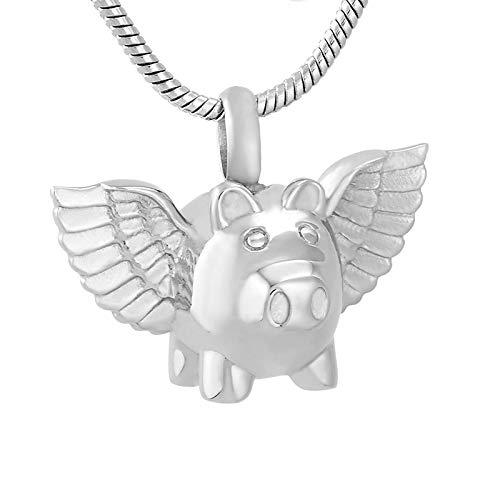 SONGAI Exquis Flying Pig Pendentif 10 Pcs/Lot Urne for Animaux De Compagnie Porte Cendres Souvenir Funéraire Cercueil Bijoux Crémation en Gros (Main Stone Color : Pendant with Chain)
