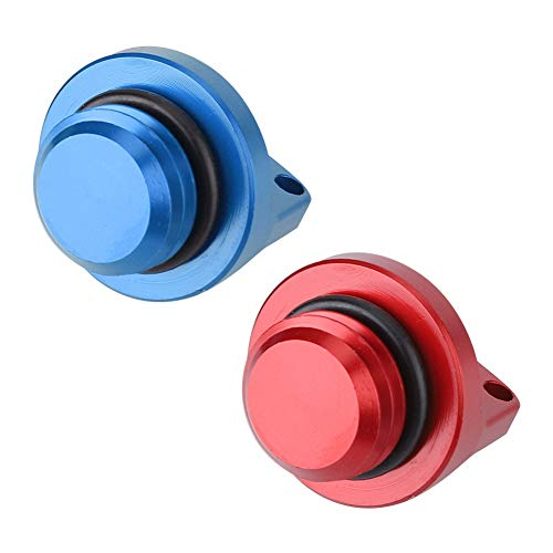 Tapa de relleno de aceite rojo, azul, aleación de aluminio aleación de aluminio 2pcs tapones de llenado de aceite