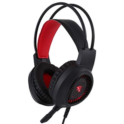 HULDORO Longitud del Cable: 2.1m, V1000 Dual-3.5MM Interfaz de Enchufe Play Auriculares Auriculares con micrófono y liderado likful Enchufe de oído (Color : Red)