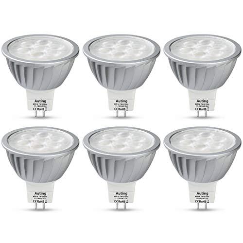 AUTING GU5.3 MR16 LED Lampen 12V,7W Birnen Ersatz für 50W Halogenlampen,2700K Warmweiß Licht, 560lm Kein Flackern Leuchtmitte, GU5.3 Sockel Glühbirnen, Aluminium,6er Pack