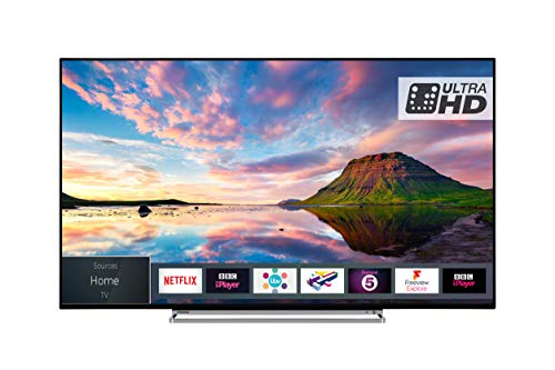 Toshiba 55U5863DB 55-Inch Smart 4K Ultra-HD HDR LED WiFi TV with Freeview Play- Black/Silver
