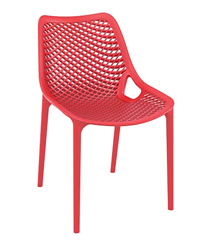 CLP XXL-Bistrostuhl Air Aus Kunststoff I Gartenstuhl Mit 44CM Sitzhöhe I Outdoor-Stuhl Mit Wabenmuster, Farbe:rot