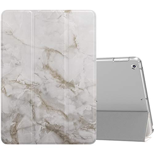 MoKo Case Fit 2018/2017 iPad 9.7 6th/5th Generation, Slim Lightweight Smart-Shell Stand Cover with Translucent Frosted Back Protector Fit iPad 9.7 Inch 2018/2017, Auto Wake/Sleep - Light Gray Marble