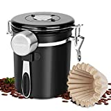 Coffee Canister Lomezi, Airtight Stainless Steel Kitchen Food Storage Container with Date Tracker and Scoop for Beans, Grounds, Tea, Flour, Cereal, Sugar(Black, 16 oz.)