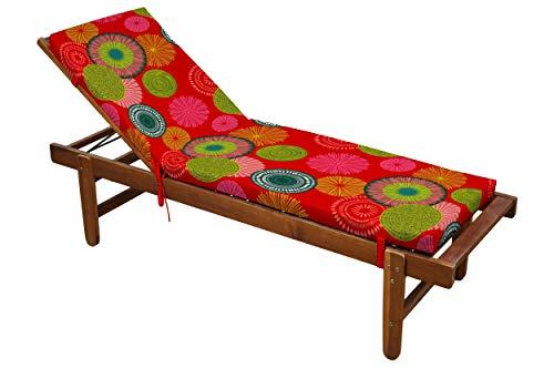 Matelas Bain de Soleil Tahiti, déhoussable, Rouge, 60x190cm, 100% Microfibre, Attache Clips (Transat Non-Inclus)