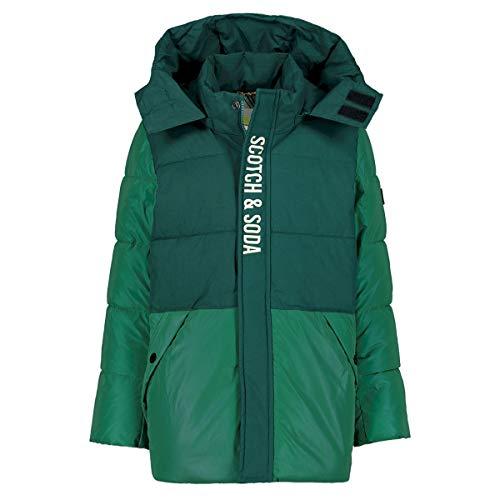 Scotch & Soda Shrunk Boys Reflektierende Colorblock-Steppjacke Jacket, Glacier Green 3825, 4