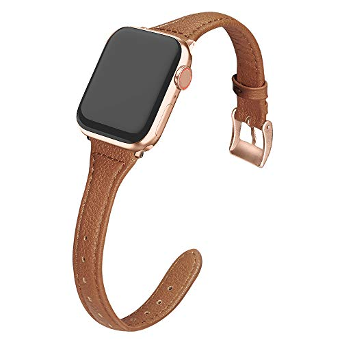 MARGE PLUS Compatible Apple Watch Band 38mm 40mm Women, Slim Genuine Leather Watch Strap Replacement for iWatch Series 5 4 3 2 1, (Brown Band + Champagne Gold Adapter)