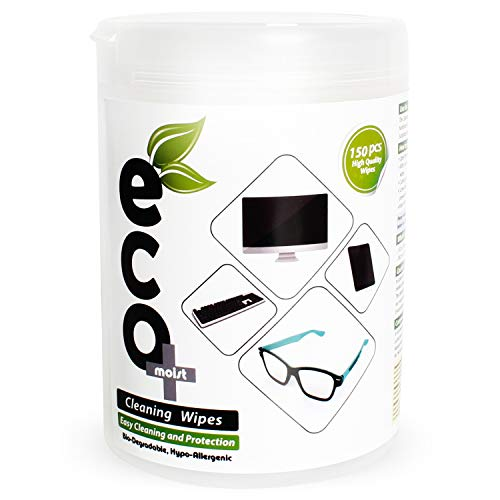 Ecomoist Reinigungstücher LCD LED Plasma TV PC Notebook Monitore Handy Tablet Tastatur Touchscreen Linse Tücher Brillen optische Reiniger (150 Tücher) umweltfreundlich