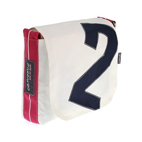 Messenger Bag CANVASCO Mini/Tasche weiß/Gurt pink-weiß/Motiv 2 blau