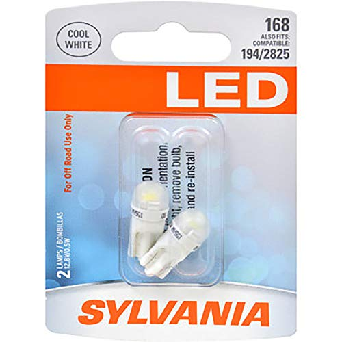 SYLVANIA 168 T10 W5W White LED Bulb, (Contains 2 Bulbs) (168SL.BP2)