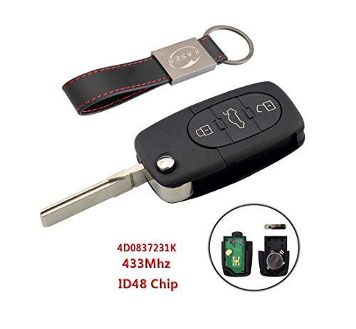 Chiave Telecomando con Scheda Elettronica 3 Tasti per Audi A1 A3 A4 A6 A8 Q3 Q5 TT (433MHz ID48 Chip 4D0837231K) Transponder con Portachiavi KASER