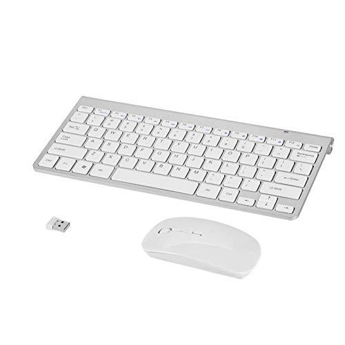 Richer-R Inalámbrica Pack de Teclado Impermeable y Ratón Ergonomía para Apple Macbook PC Win XP / 7/8/ USB.Keyboard y Mouse Pequeño y Liviano(2,4 GHz,ABS)(Plata)