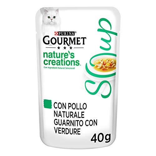 PURINA GOURMET NATURE'S CREATIONS Soup Gatto Delicato Brodo con Pollo Naturale, Guarnito con Verdure, 32 Buste da 40 g Ciacuna, Confezione da 32 x 40 g