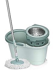 モップ スピンモップ、ホームマイクロファイバーモップバケツ床洗浄システム自動ロータリー洗浄システム360°回転モップ着脱式脱水バスケットをスピン