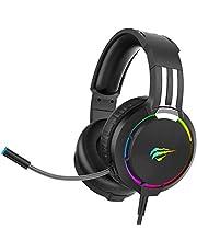 havit RGB Wired Gaming Headset PC USB 3.5mm XBOX / PS4 / PS5 Headsets med 50MM Driver, Surroundljud & HD-mikrofon, XBOX One Gaming Overear-hörlurar för datorbärbar dator, svart (H2010d)
