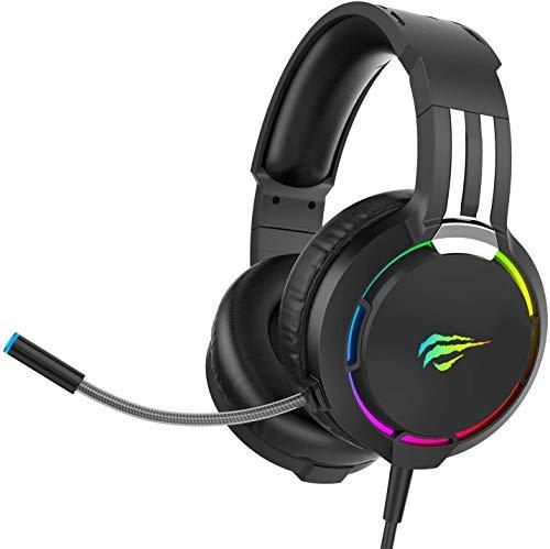 havit Headset für PS4, RGB Gaming Headset für PC, PS5, Xbox One, Laptop, Kopfhörer mit Mikrofon, mit Surround Sound 50MM Treiber und Mikrofon-Mute (H2010d)