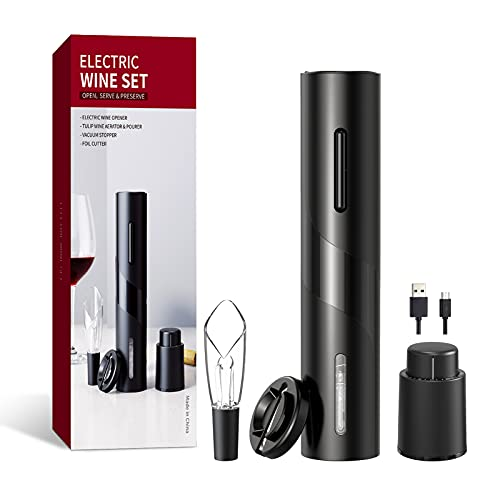 Electric Wine Bottle Opener Rechargeable WTNEWLIFE Automatic Corkscrew Wine Bottle Opener, Electric Wine Set, USB Charging Cable, Wine Gift Set