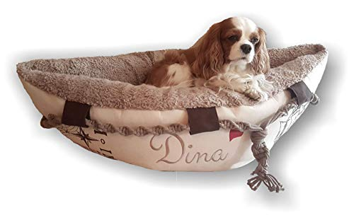 LunaChild Hundebett Hund Boot Böötchen Hundeboot Sofa Hundebett Lounge Hundelounge mit Name Wunschname Snuggle Bag Größe XS S M L viele Farben Hundekorb