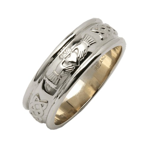 Claddagh Wedding Ring Mens Made In Ireland Sterling Silver Intricate Claddagh Design Around 1/4' Band Made By Maker-Partner Fado in Co. Wicklow, Ireland Size 12
