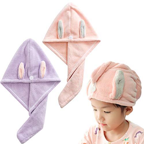 Sweet Do Haarturban, Handtuch, super saugfähig, schnell trocknend, für Kinder, Tochter, 2 Stück