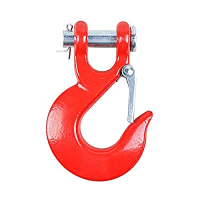 AMOPA Tow Recovery Heavy Duty Half-Link Clevis Safety Latch Swivel Winch Hook Off Road Truck Accessories (Max 35,000lbs - Red)