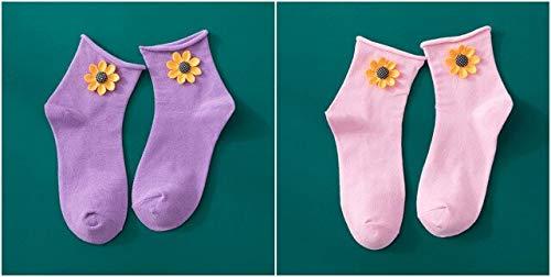 XIAMAZ 2 paar zonnebloemen driedimensionale snoep kleur schattige sokken bloem katoen Harajuku mode creatieve comfort sokken