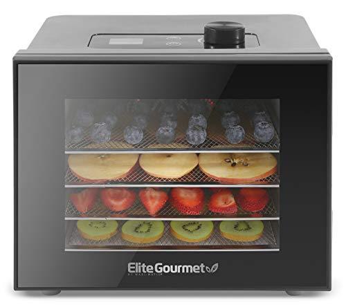 Elite Gourmet EFD308 Digital, 4 bandejas de acero inoxidable, función de temporizador, control de temperatura ajustable, hierbas aromáticas, frutas, verduras, aperitivos, color negro