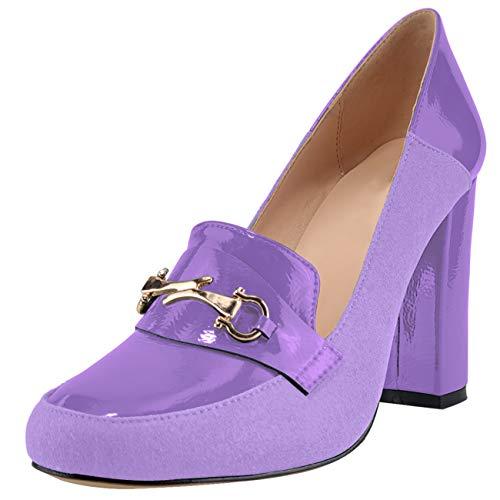 JiaBinji Mujeres Zapatos de tacón de Bloque Bombas de Gamuza Zapatos de...
