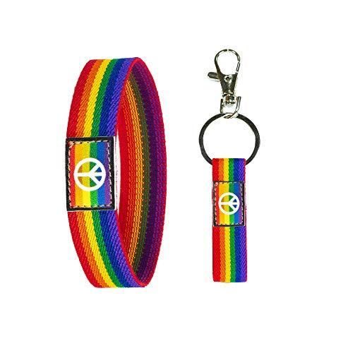 Pulsera Lgtb Con Símbolo De Paz Llavero Orgullo Gay En Tela Elástica Colores Llamativos Ideal Mujer Hombre