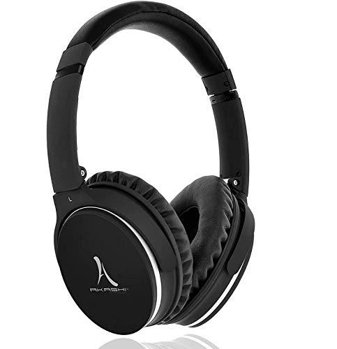 Akashi Technology - Cascos Bluetooth, Auriculares con Cancelacion Activa del Ruido - Negro