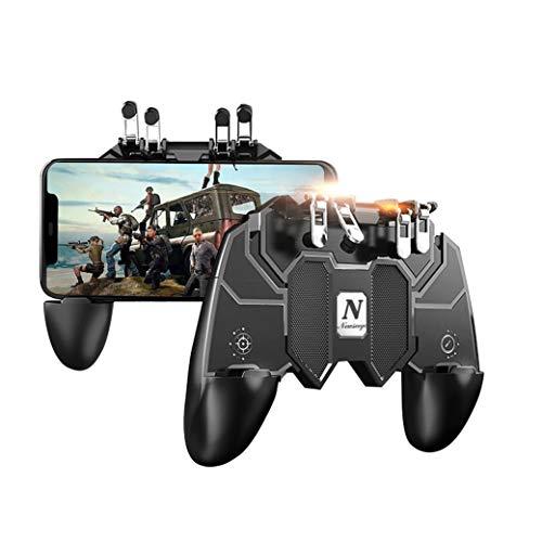 Newseego PUBG Mobile Game Controller,[Upgrade] Telefoncontroller-Gamepad mit L1R1 6-Finger-Auslöser für Shooter Sensitive und Aim-Auslöser-Controller für Android & iOS für Messer Out - Schwarz