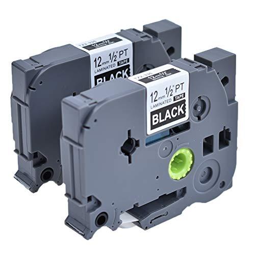 2 X TZe-335 Schriftband Kompatible Brother TZe335 P-touch Etikettenband Kassette 12mm Weiß auf Schwarz Bänder Tape TZ-335 Beschriftungsband