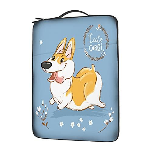 IBILIU Corgi Dog Laptop Sleeve 14 Inch with Handle,Funny Welsh Doggy Cute Puppy Kawaii Corgi Laptop Carrying case Laptop Bag for Man Women
