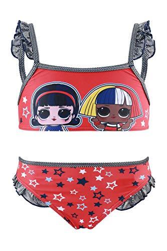 Characters Cartoons LOL Surprise - Costume Bikini 2 Pezzi Mare Piscina - Bambina - Prodotto Originale con Licenza Ufficiale [1923 Rosso - 9 Anni]