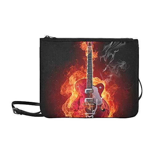 JEOLVP Feuer E-Gitarren-Look Andere Feuer Stock Illustration Muster Benutzerdefinierte hochwertige Nylon Slim Clutch Bag Cross-Body Bag Umhängetasche