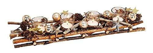 Weihnachts-Gesteck Advents-Kranz Teelicht-Kerzen-Halter Advent Birken-Holz mit Tannen-Zweigen, Kugeln, Ästen & Sternen braun & gold - Weihnachts-Deko Tisch-Dekoration Winter & Advent Länge 45cm