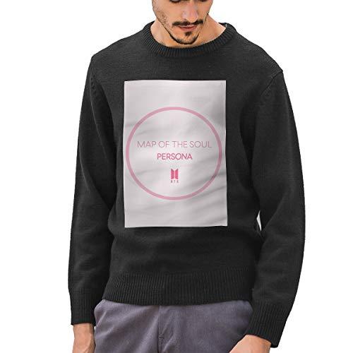 Men's Sweater Pink B-T-S Personality Active Sweatshirt Pullover Sport Coat Crew Neck Tops XL