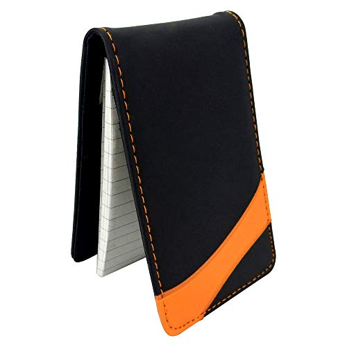 Jotter Note Pad with Card Pocket - Mini Business Memo Pad Holder - Pocket Memo Pads Book Cover for Business Professionals - Pocket Notebook Jotter, 40 Page Lined Notepad (Black with Orange)