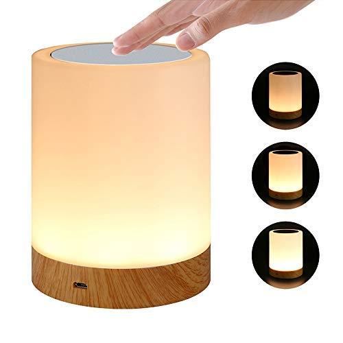 LED Nachttischlampe, Touchbedienung Nachtlichter Holzmaserung Nachtlicht USB Wiederaufladbare Lampe, Dimmbares Tischlampe Kinder mit 3 Level Warm White Light und Sechs Farbwechsel RGB für Schlafzimmer